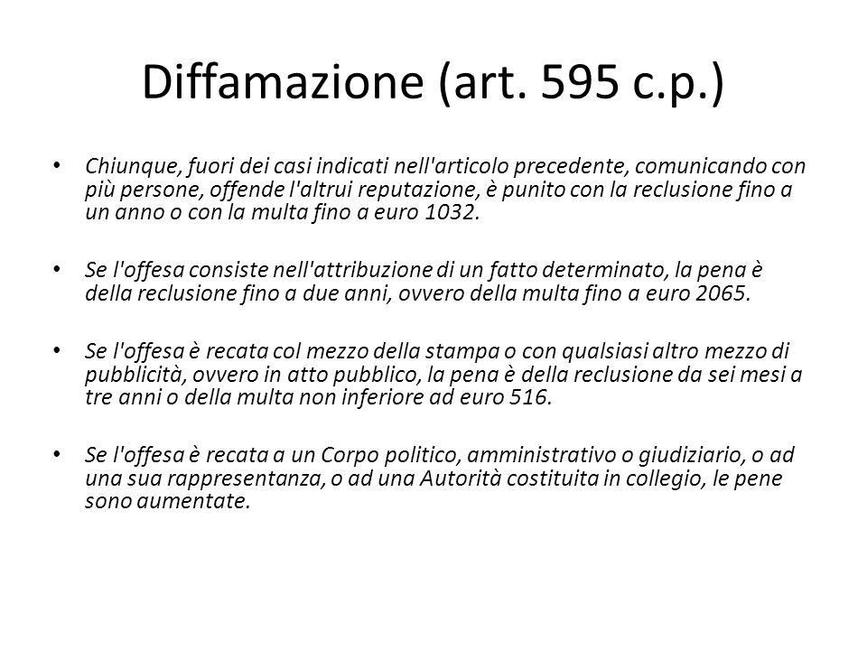 Exceptio veritatis (art.596 c.p.) Art.