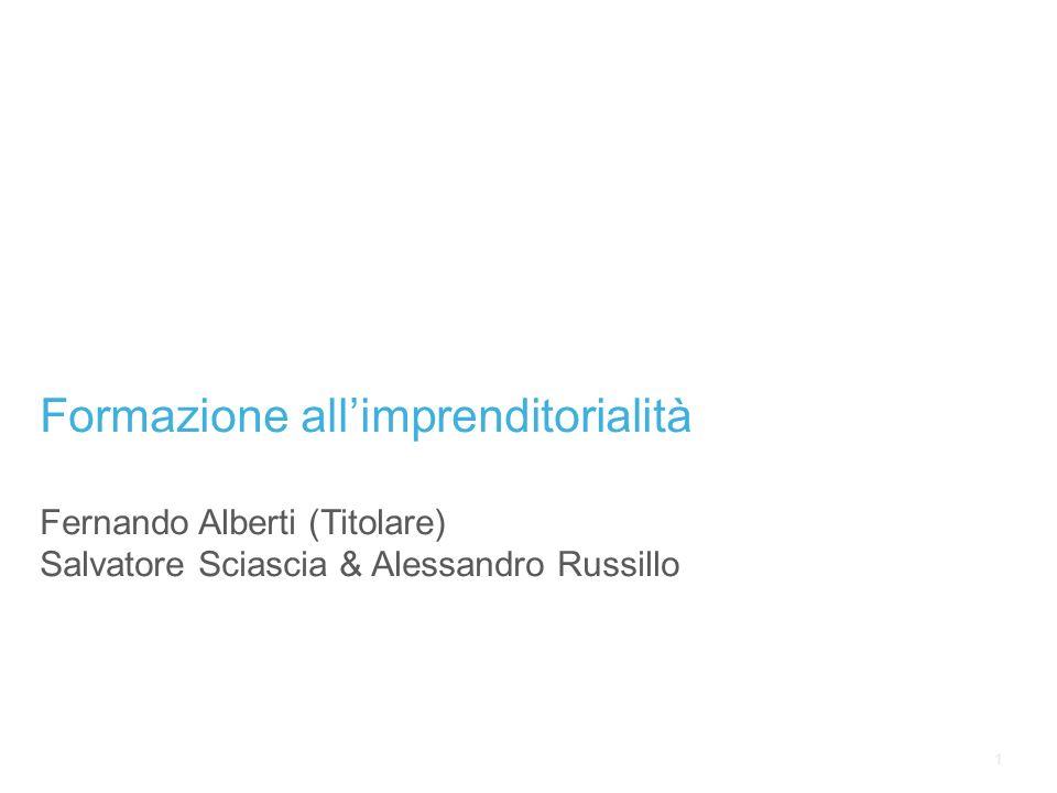 1 Formazione allimprenditorialità Fernando Alberti (Titolare) Salvatore Sciascia & Alessandro Russillo