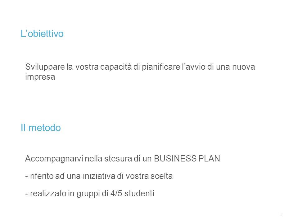 33 Lobiettivo Sviluppare la vostra capacità di pianificare lavvio di una nuova impresa Il metodo Accompagnarvi nella stesura di un BUSINESS PLAN - riferito ad una iniziativa di vostra scelta - realizzato in gruppi di 4/5 studenti