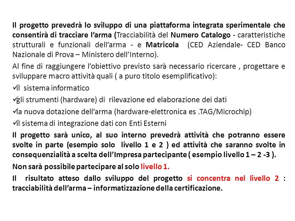 Sintesi della struttura del progetto : Primo livello Destinatari : Imprese produttrici e subfornitura non dotate di un sistema di tracciabilità interno.