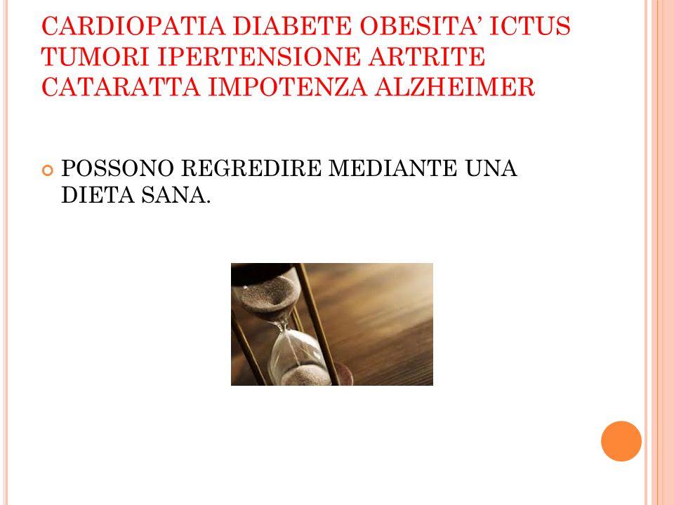 CARDIOPATIA DIABETE OBESITA ICTUS TUMORI IPERTENSIONE ARTRITE CATARATTA IMPOTENZA ALZHEIMER POSSONO REGREDIRE MEDIANTE UNA DIETA SANA.