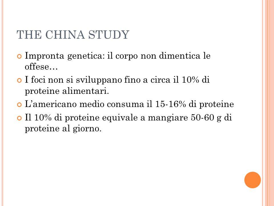 THE CHINA STUDY Impronta genetica: il corpo non dimentica le offese… I foci non si sviluppano fino a circa il 10% di proteine alimentari. Lamericano m