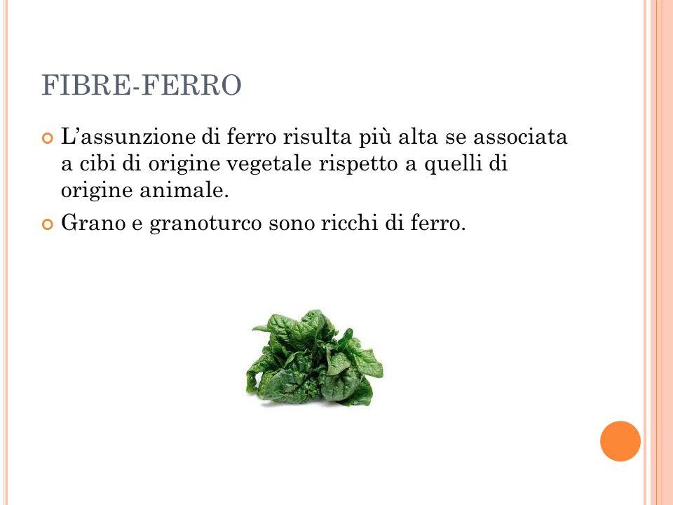 FIBRE-FERRO Lassunzione di ferro risulta più alta se associata a cibi di origine vegetale rispetto a quelli di origine animale. Grano e granoturco son