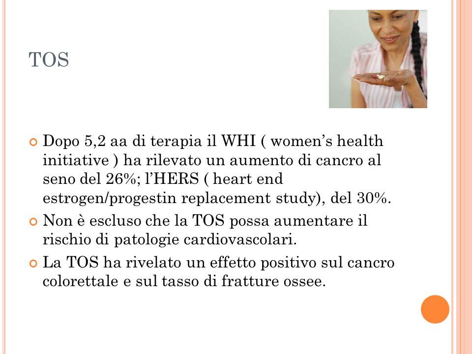 TOS Dopo 5,2 aa di terapia il WHI ( womens health initiative ) ha rilevato un aumento di cancro al seno del 26%; lHERS ( heart end estrogen/progestin