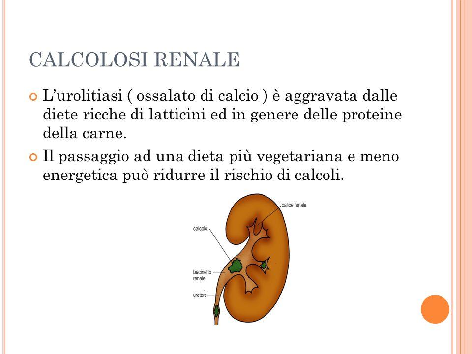 CALCOLOSI RENALE Lurolitiasi ( ossalato di calcio ) è aggravata dalle diete ricche di latticini ed in genere delle proteine della carne. Il passaggio
