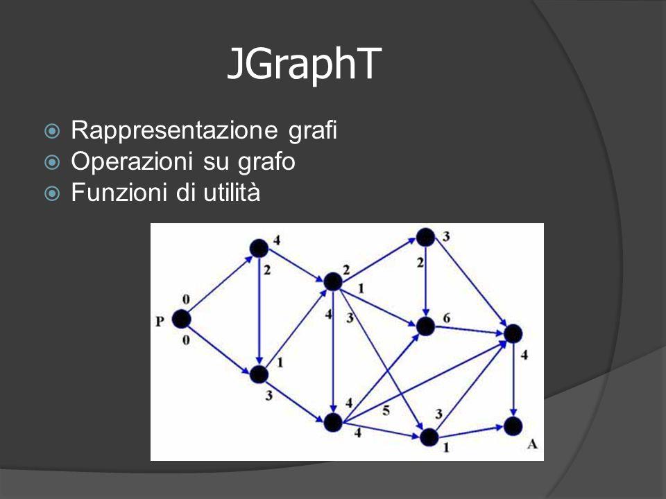 JGraphT Rappresentazione grafi Operazioni su grafo Funzioni di utilità