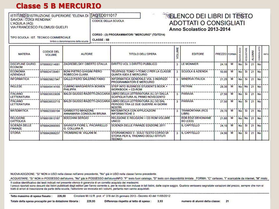 Classe 5 B MERCURIO