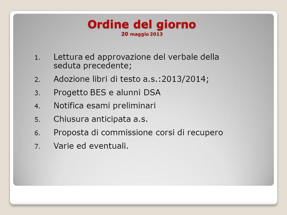 Ordine del giorno 20 maggio 2013 1. Lettura ed approvazione del verbale della seduta precedente; 2.