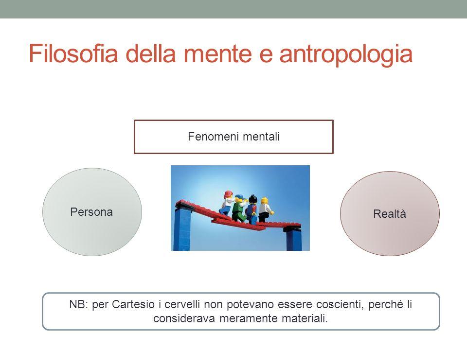 Filosofia della mente e antropologia Persona Realtà Fenomeni mentali NB: per Cartesio i cervelli non potevano essere coscienti, perché li considerava meramente materiali.