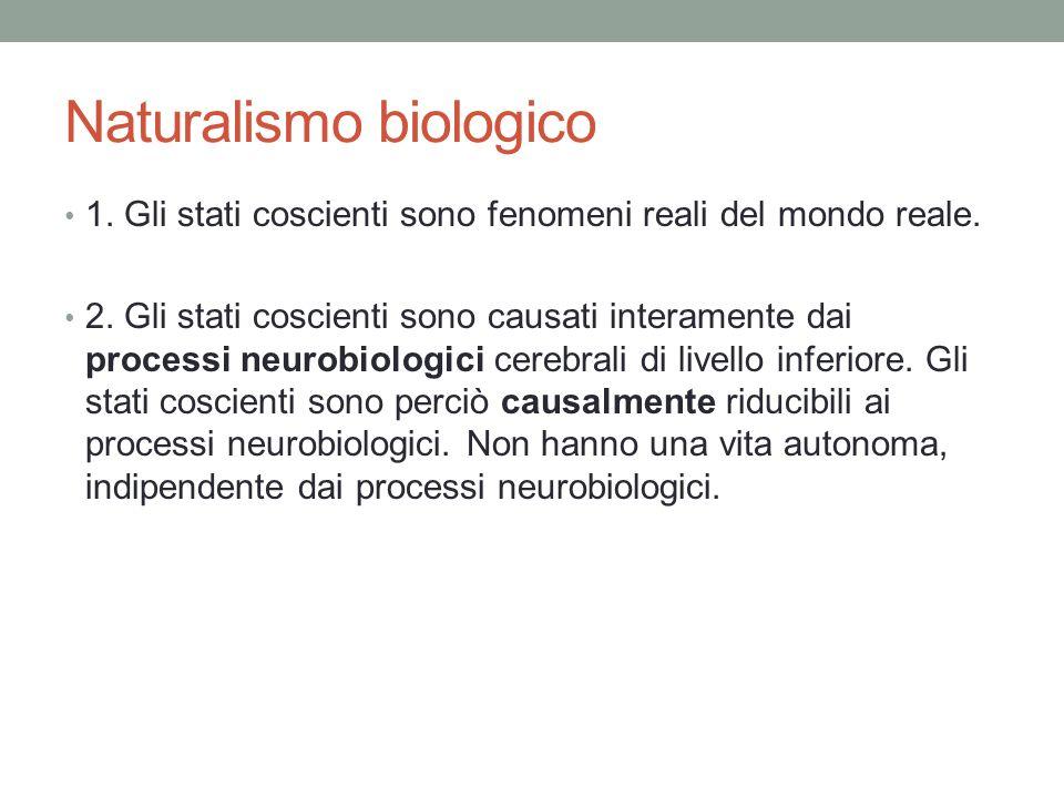 Naturalismo biologico 1.Gli stati coscienti sono fenomeni reali del mondo reale.