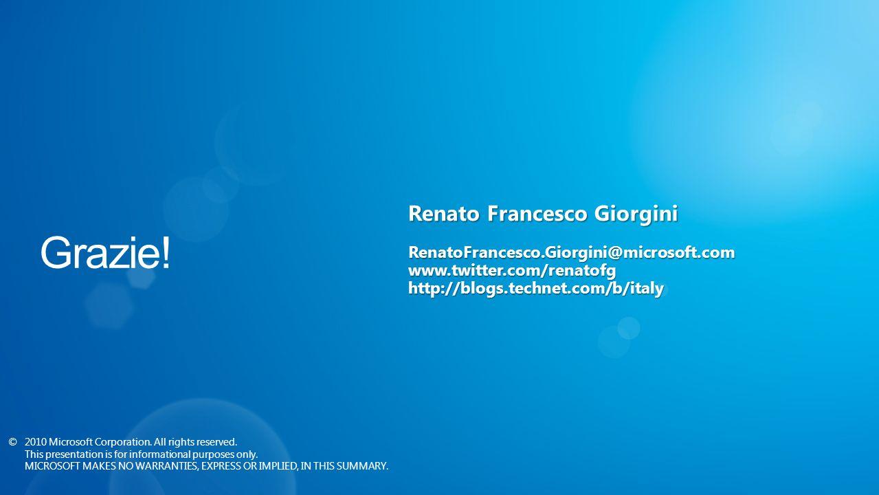 Renato Francesco Giorgini RenatoFrancesco.Giorgini@microsoft.comwww.twitter.com/renatofghttp://blogs.technet.com/b/italy ©2010 Microsoft Corporation.