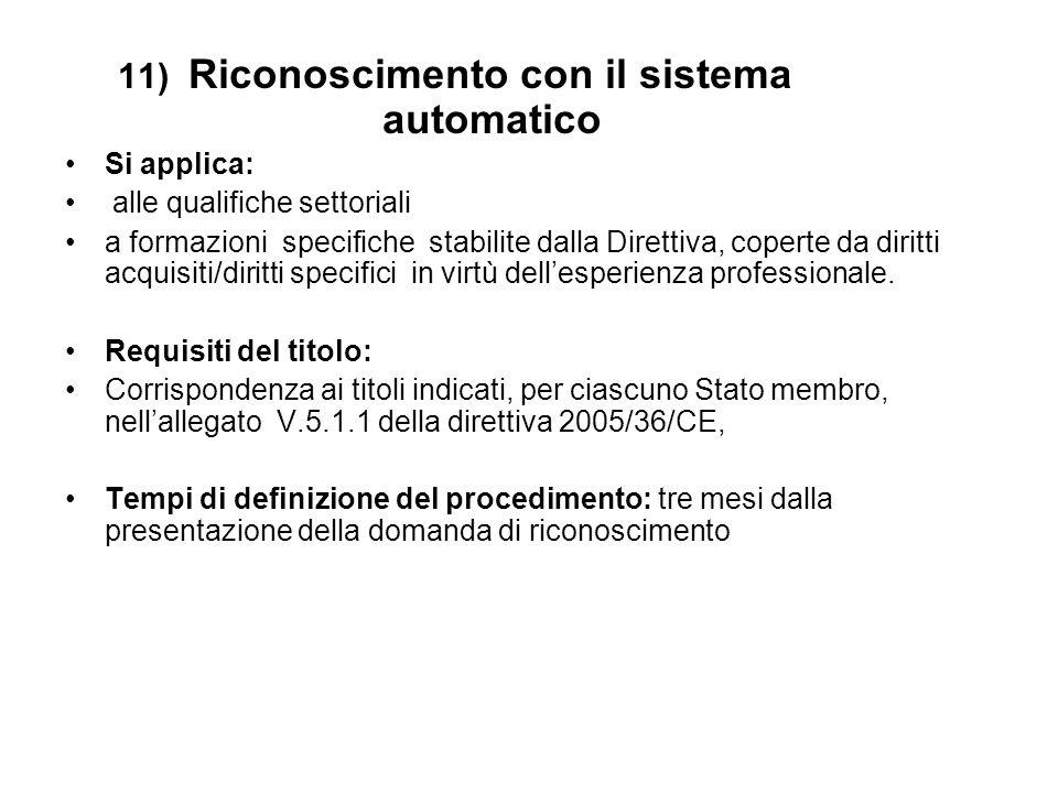 12) Regime generale di riconoscimento Si applica alle professioni non coperte dal sistema di riconoscimento automatico.