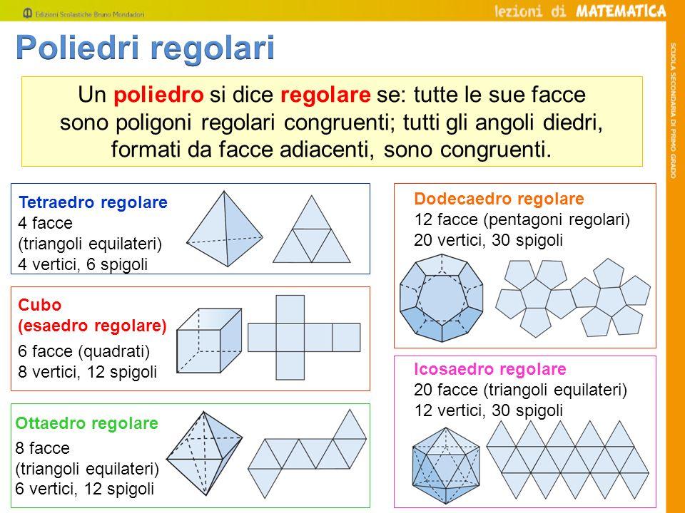 Un poliedro si dice regolare se: tutte le sue facce sono poligoni regolari congruenti; tutti gli angoli diedri, formati da facce adiacenti, sono congr
