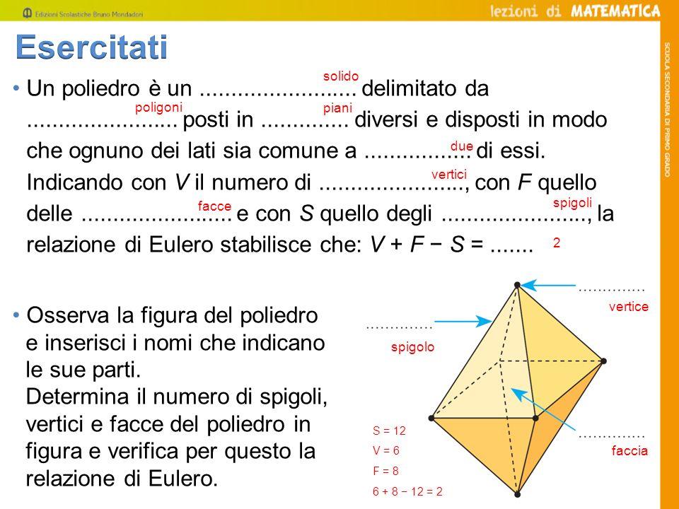 Un poliedro è un......................... delimitato da........................ posti in.............. diversi e disposti in modo che ognuno dei lati