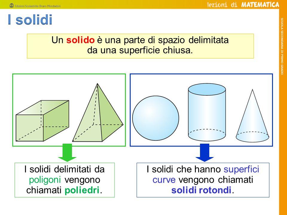 Un solido è una parte di spazio delimitata da una superficie chiusa. I solidi delimitati da poligoni vengono chiamati poliedri. I solidi che hanno sup