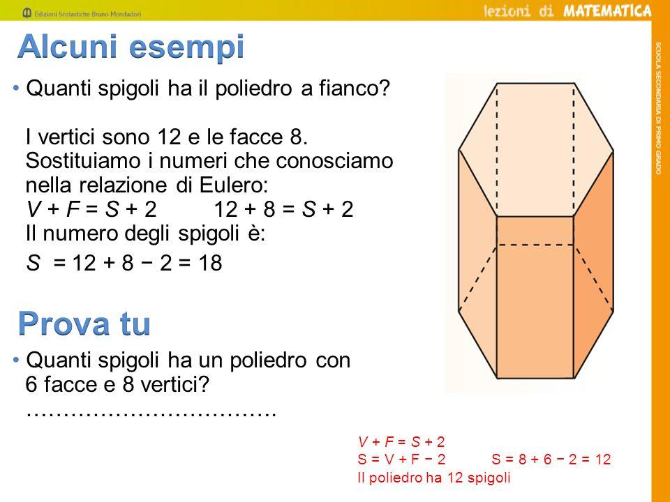 Quanti spigoli ha il poliedro a fianco? I vertici sono 12 e le facce 8. Sostituiamo i numeri che conosciamo nella relazione di Eulero: V + F = S + 2 1