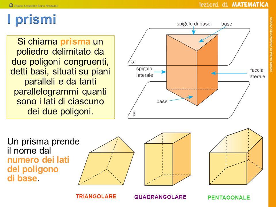 TRIANGOLARE Si chiama prisma un poliedro delimitato da due poligoni congruenti, detti basi, situati su piani paralleli e da tanti parallelogrammi quan