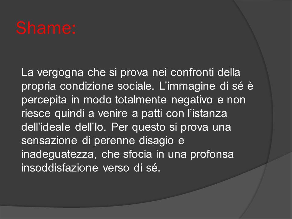 Shame: La vergogna che si prova nei confronti della propria condizione sociale. Limmagine di sé è percepita in modo totalmente negativo e non riesce q