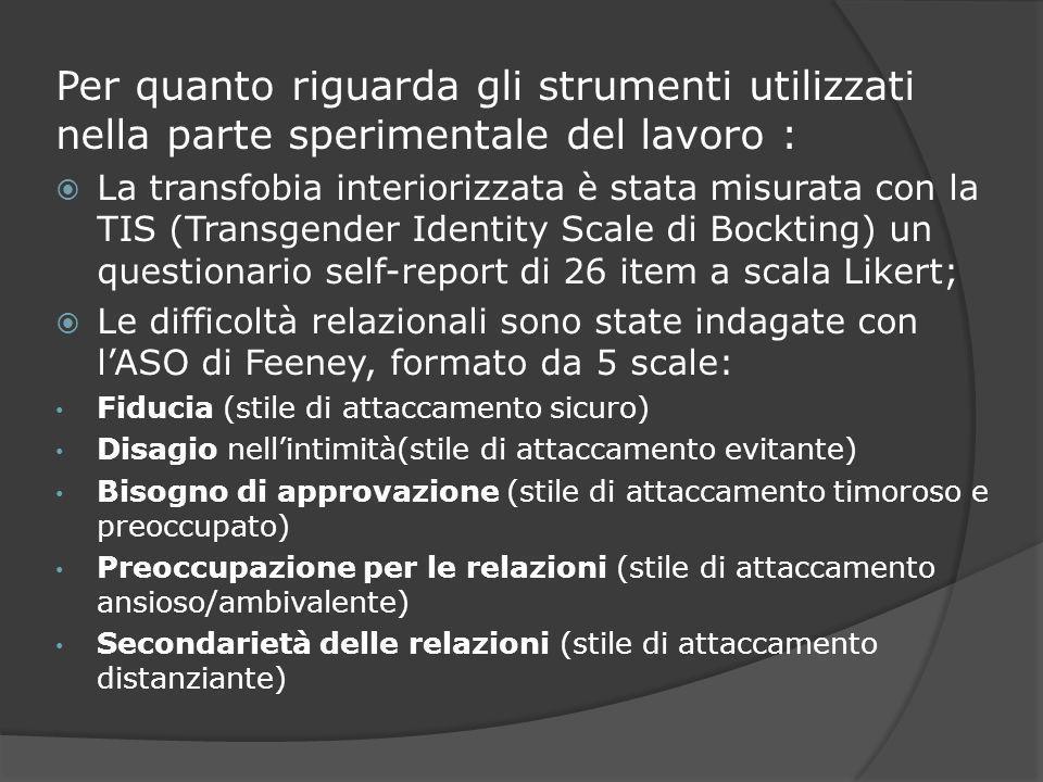 Per quanto riguarda gli strumenti utilizzati nella parte sperimentale del lavoro : La transfobia interiorizzata è stata misurata con la TIS (Transgend
