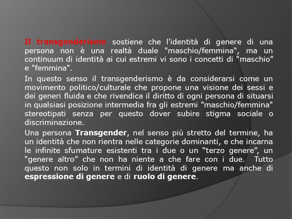 Il transgenderismo sostiene che l'identità di genere di una persona non è una realtà duale
