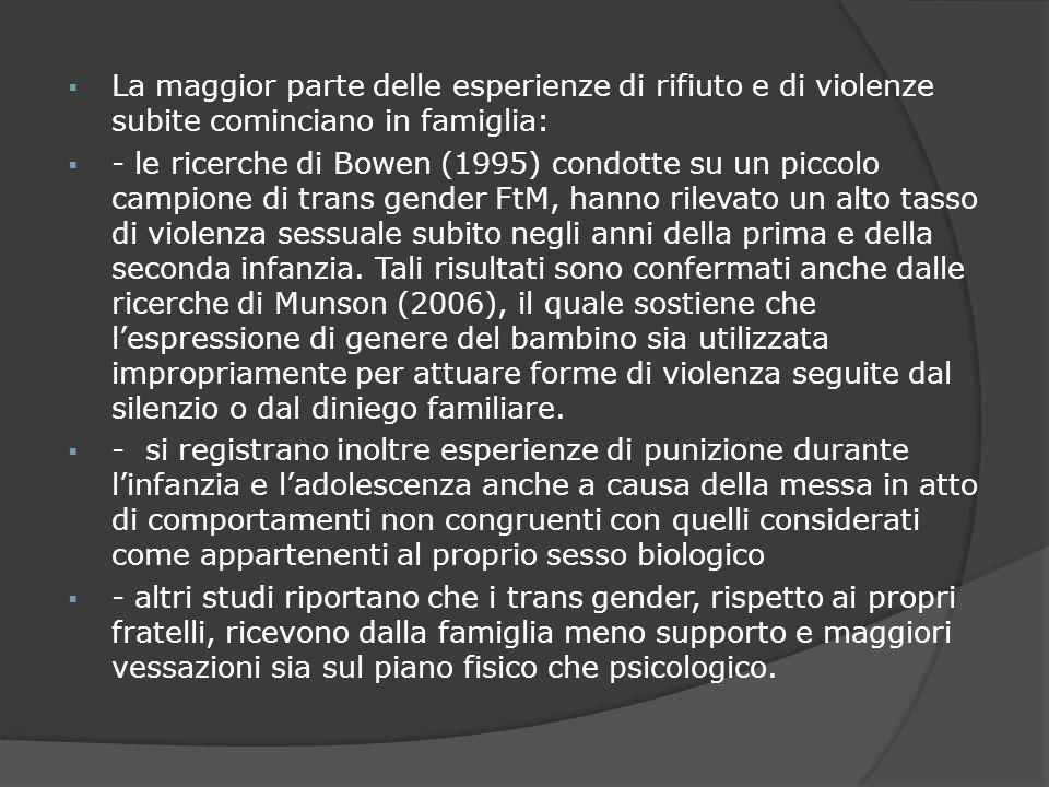 La maggior parte delle esperienze di rifiuto e di violenze subite cominciano in famiglia: - le ricerche di Bowen (1995) condotte su un piccolo campion