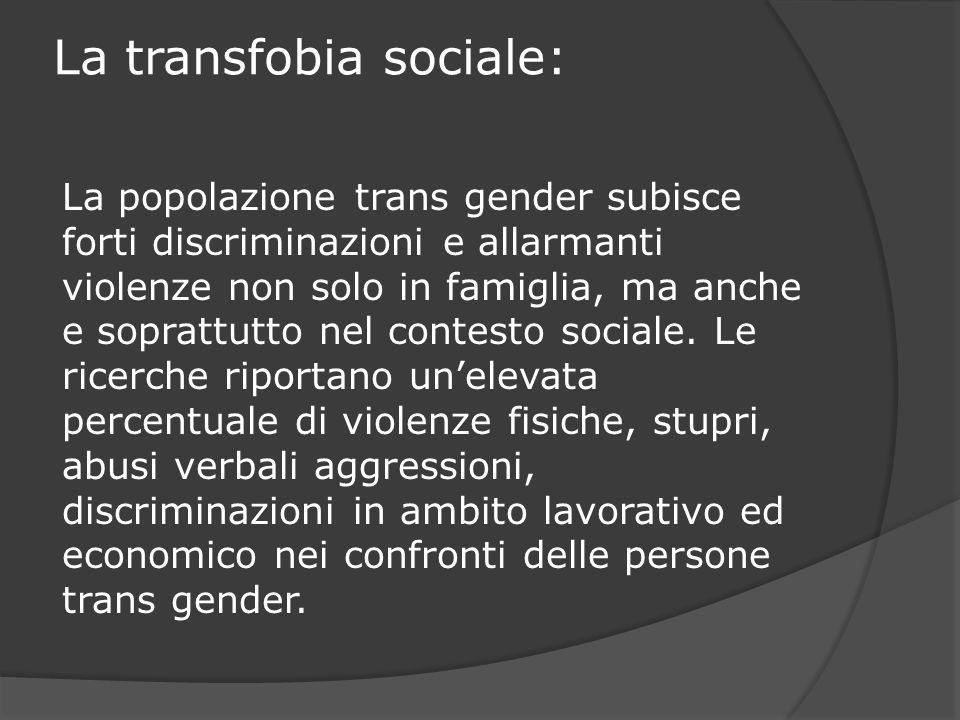 La transfobia sociale: La popolazione trans gender subisce forti discriminazioni e allarmanti violenze non solo in famiglia, ma anche e soprattutto ne