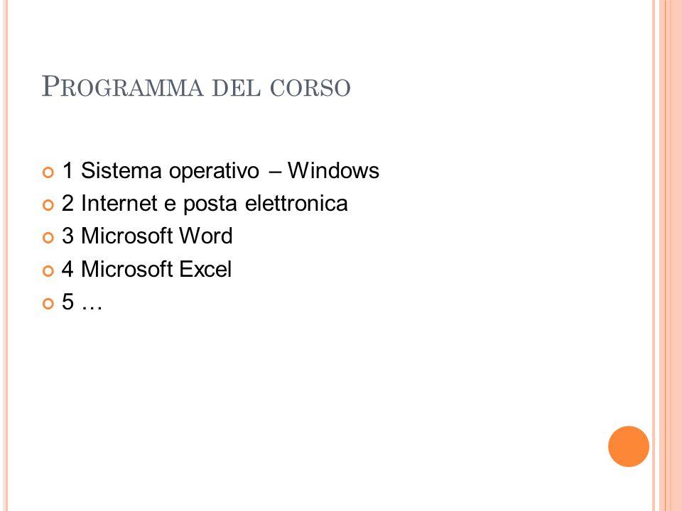 P ROGRAMMA DEL CORSO 1 Sistema operativo – Windows 2 Internet e posta elettronica 3 Microsoft Word 4 Microsoft Excel 5 …