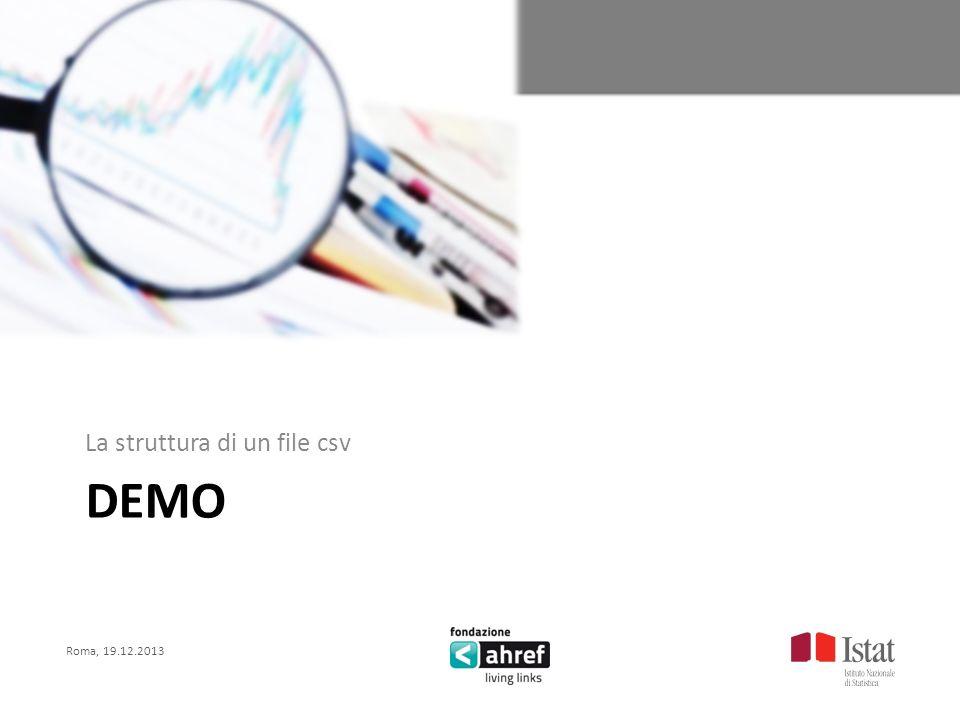 Roma, 19.12.2013 Titolo titolo titolo titolo DEMO La struttura di un file csv