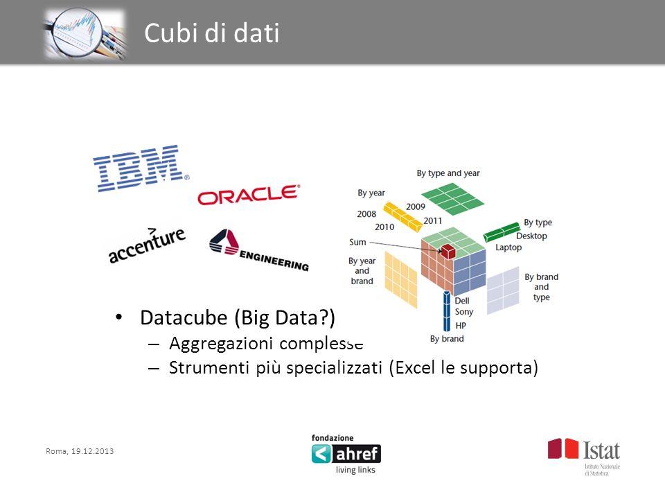 Roma, 19.12.2013 Titolo titolo titolo titolo Cubi di dati Datacube (Big Data?) – Aggregazioni complesse – Strumenti più specializzati (Excel le suppor