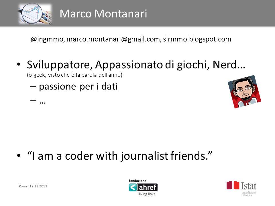 Roma, 19.12.2013 Titolo titolo titolo titolo Marco Montanari @ingmmo, marco.montanari@gmail.com, sirmmo.blogspot.com Sviluppatore, Appassionato di gio