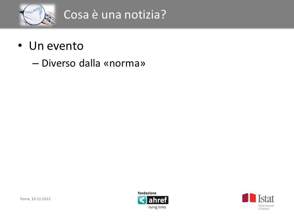 Roma, 19.12.2013 Titolo titolo titolo titolo Cosa è una notizia? Un evento – Diverso dalla «norma»