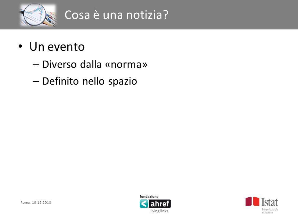 Roma, 19.12.2013 Titolo titolo titolo titolo Cosa è una notizia? Un evento – Diverso dalla «norma» – Definito nello spazio