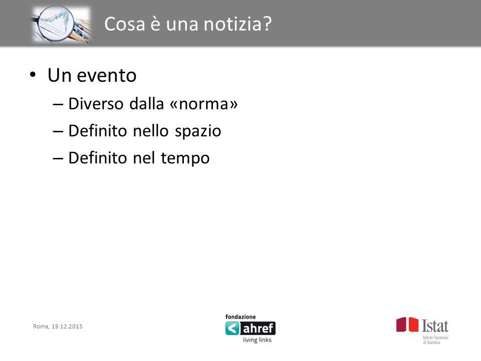Roma, 19.12.2013 Titolo titolo titolo titolo Cosa è una notizia? Un evento – Diverso dalla «norma» – Definito nello spazio – Definito nel tempo