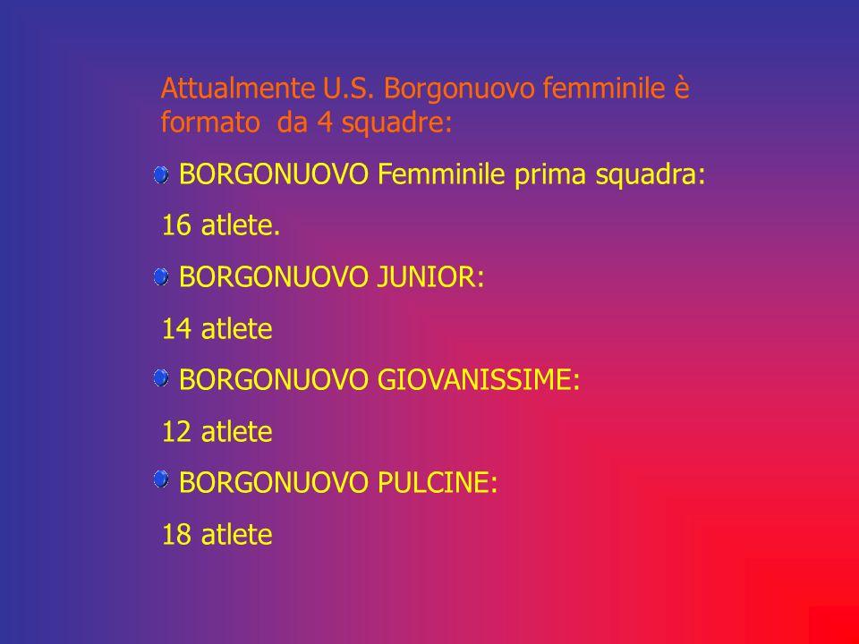 Attualmente U.S. Borgonuovo femminile è formato da 4 squadre: BORGONUOVO Femminile prima squadra: 16 atlete. BORGONUOVO JUNIOR: 14 atlete BORGONUOVO G