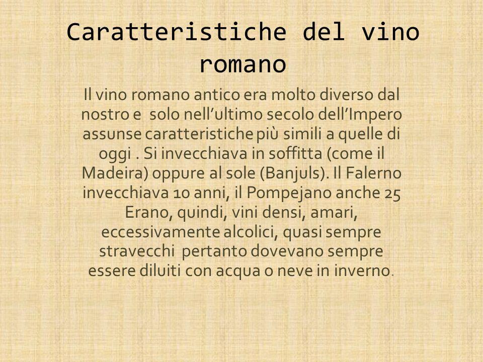 Caratteristiche del vino romano Il vino romano antico era molto diverso dal nostro e solo nellultimo secolo dellImpero assunse caratteristiche più simili a quelle di oggi.