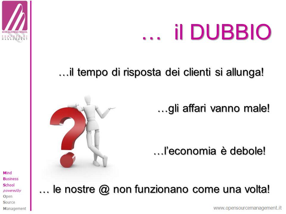 … il DUBBIO …gli affari vanno male! …leconomia è debole! … le nostre @ non funzionano come una volta! …il tempo di risposta dei clienti si allunga!