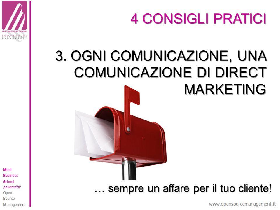 4 CONSIGLI PRATICI 3. OGNI COMUNICAZIONE, UNA COMUNICAZIONE DI DIRECT MARKETING … sempre un affare per il tuo cliente!