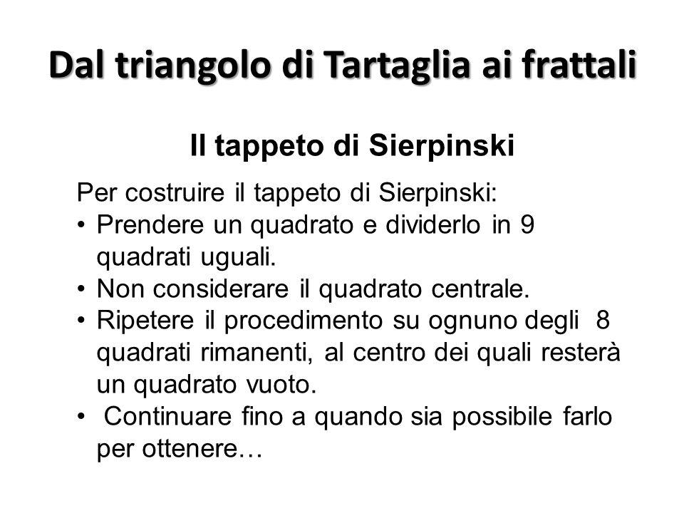 Dal triangolo di Tartaglia ai frattali Il tappeto di Sierpinski Per costruire il tappeto di Sierpinski: Prendere un quadrato e dividerlo in 9 quadrati