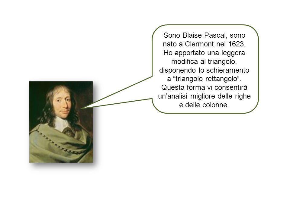 Sono Blaise Pascal, sono nato a Clermont nel 1623. Ho apportato una leggera modifica al triangolo, disponendo lo schieramento a triangolo rettangolo.