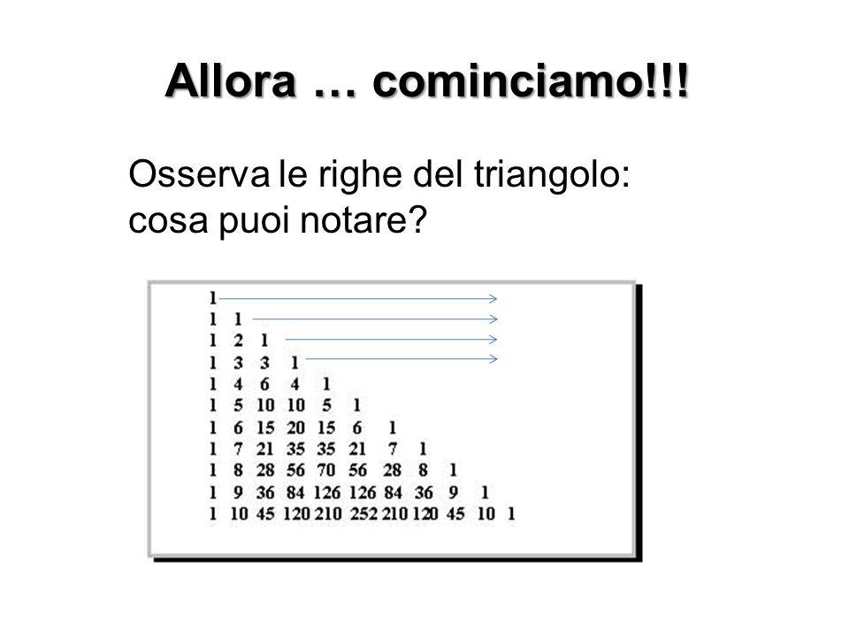 Allora … cominciamo!!! Osserva le righe del triangolo: cosa puoi notare?