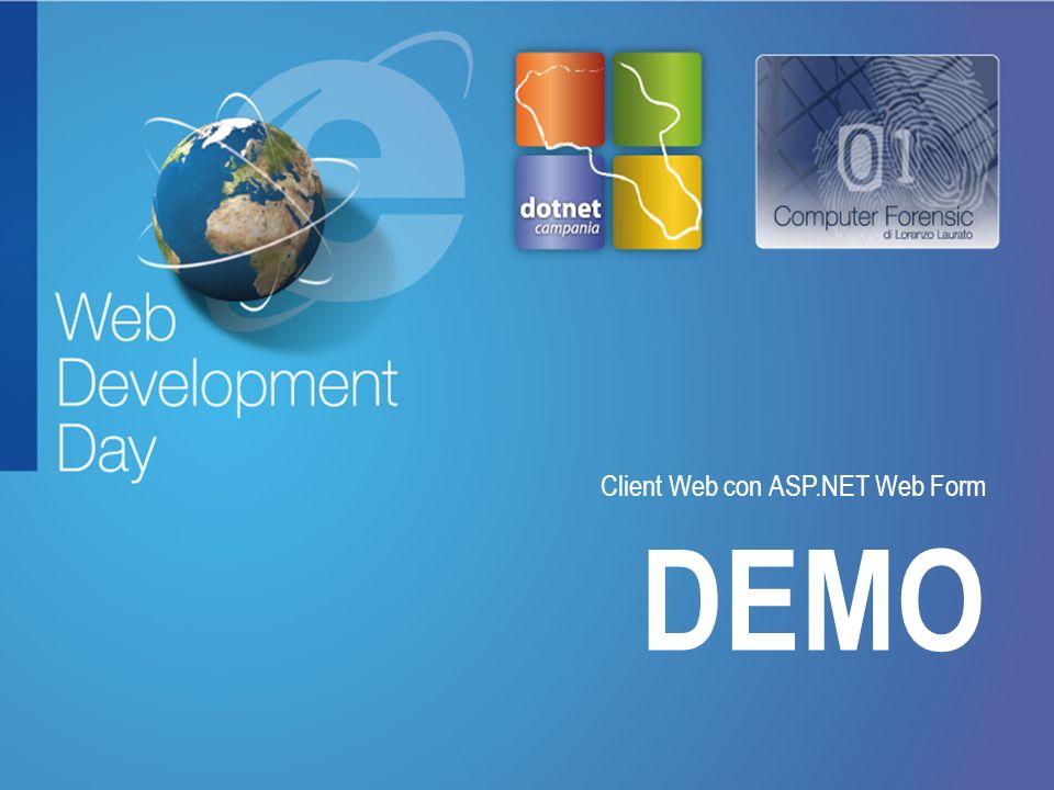 Fare clic per modificare lo stile del titolo Fare clic per modificare stili del testo dello schema – Secondo livello Terzo livello – Quarto livello » Quinto livello DEMO Client Web con ASP.NET Web Form