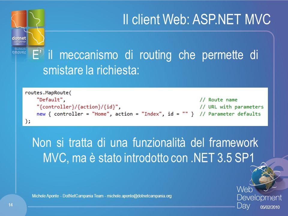 Fare clic per modificare lo stile del titolo Fare clic per modificare stili del testo dello schema – Secondo livello Terzo livello – Quarto livello » Quinto livello Il client Web: ASP.NET MVC E il meccanismo di routing che permette di smistare la richiesta: 05/02/2010 14 Michele Aponte - DotNetCampania Team - michele.aponte@dotnetcampania.org Non si tratta di una funzionalità del framework MVC, ma è stato introdotto con.NET 3.5 SP1