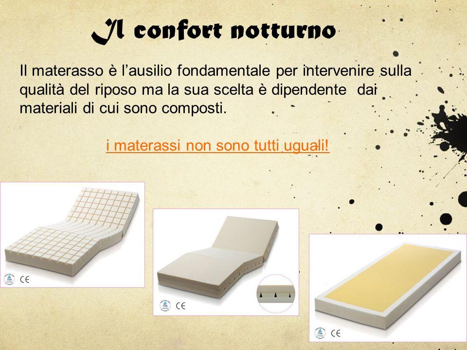 Il confort notturno Il materasso è lausilio fondamentale per intervenire sulla qualità del riposo ma la sua scelta è dipendente dai materiali di cui s