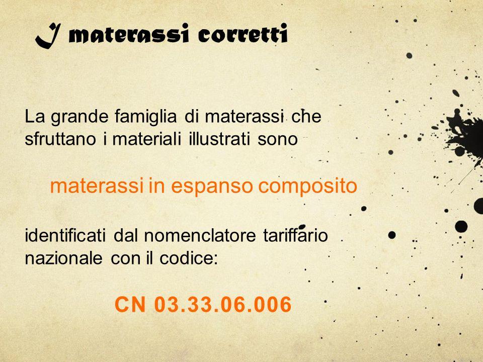 I materassi corretti La grande famiglia di materassi che sfruttano i materiali illustrati sono materassi in espanso composito identificati dal nomencl