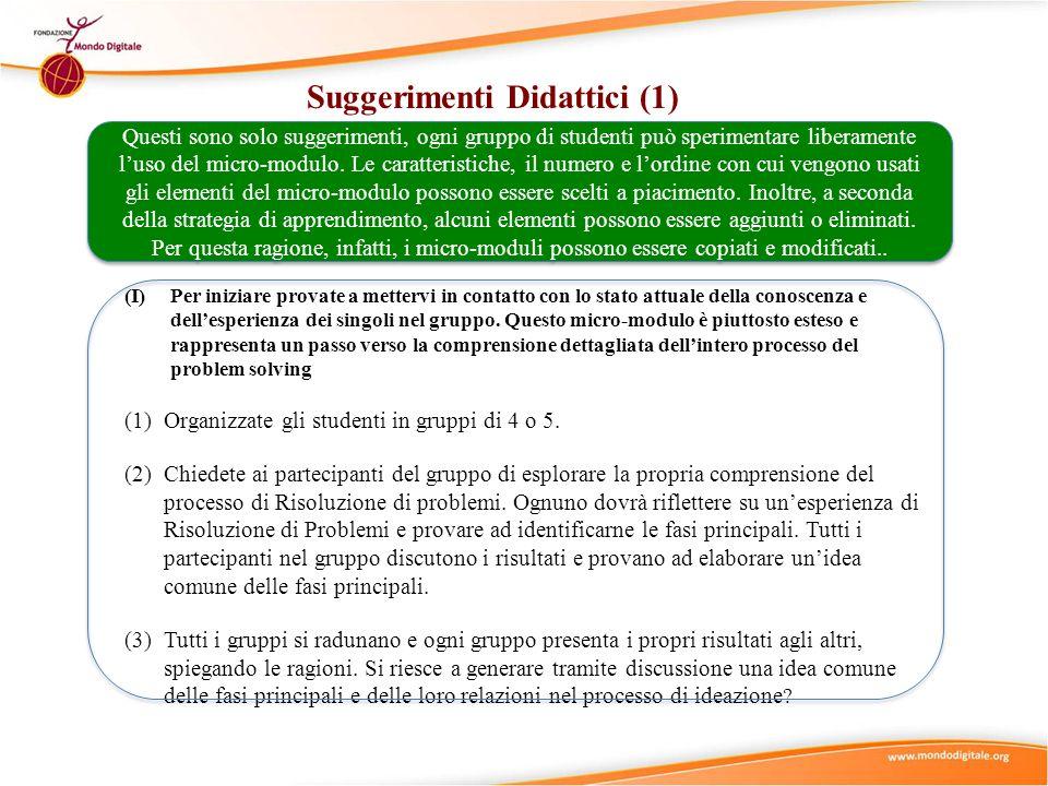Suggerimenti Didattici (1) (I)Per iniziare provate a mettervi in contatto con lo stato attuale della conoscenza e dellesperienza dei singoli nel grupp