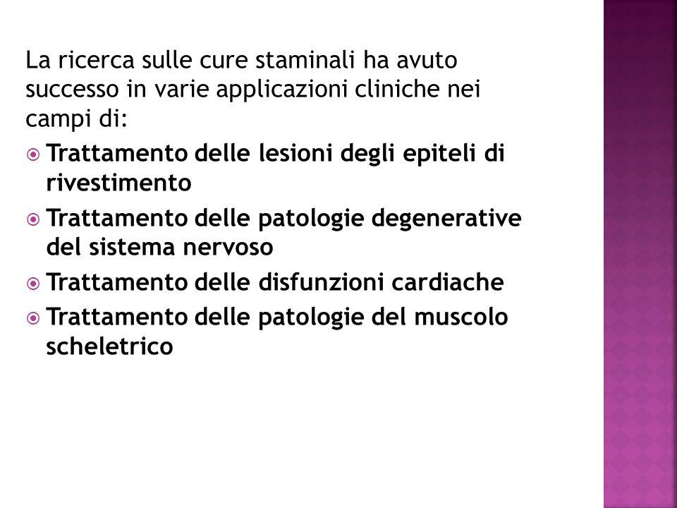 La ricerca sulle cure staminali ha avuto successo in varie applicazioni cliniche nei campi di: Trattamento delle lesioni degli epiteli di rivestimento Trattamento delle patologie degenerative del sistema nervoso Trattamento delle disfunzioni cardiache Trattamento delle patologie del muscolo scheletrico