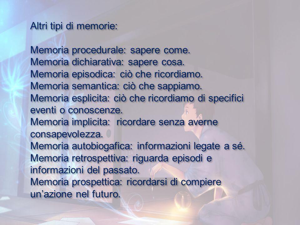 Altri tipi di memorie: Memoria procedurale: sapere come. Memoria dichiarativa: sapere cosa. Memoria episodica: ciò che ricordiamo. Memoria semantica: