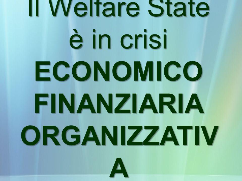 Il Welfare State è in crisi ECONOMICO FINANZIARIA ORGANIZZATIV A
