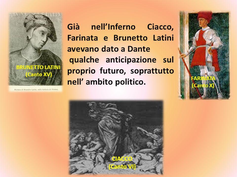 BRUNETTO LATINI (Canto XV) CIACCO (Canto VI) FARINATA (Canto X) Già nellInferno Ciacco, Farinata e Brunetto Latini avevano dato a Dante qualche antici