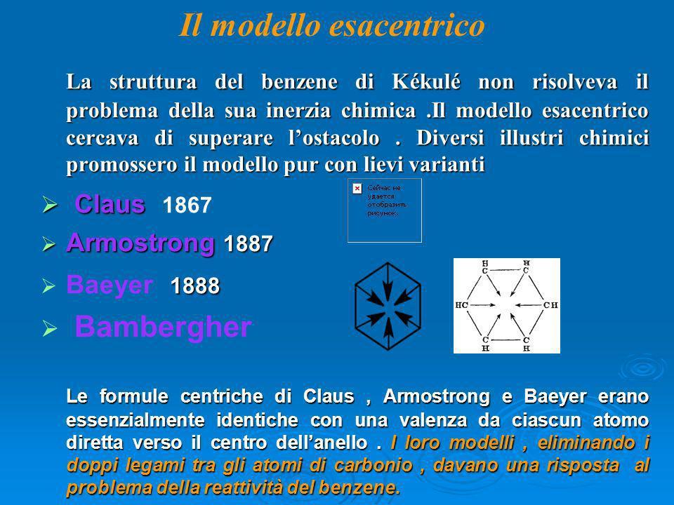 La struttura del benzene di Kékulé non risolveva il problema della sua inerzia chimica.Il modello esacentrico cercava di superare lostacolo. Diversi i